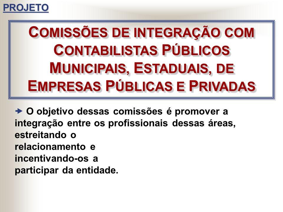 PROJETO COMISSÕES DE INTEGRAÇÃO COM CONTABILISTAS PÚBLICOS MUNICIPAIS, ESTADUAIS, DE EMPRESAS PÚBLICAS E PRIVADAS.