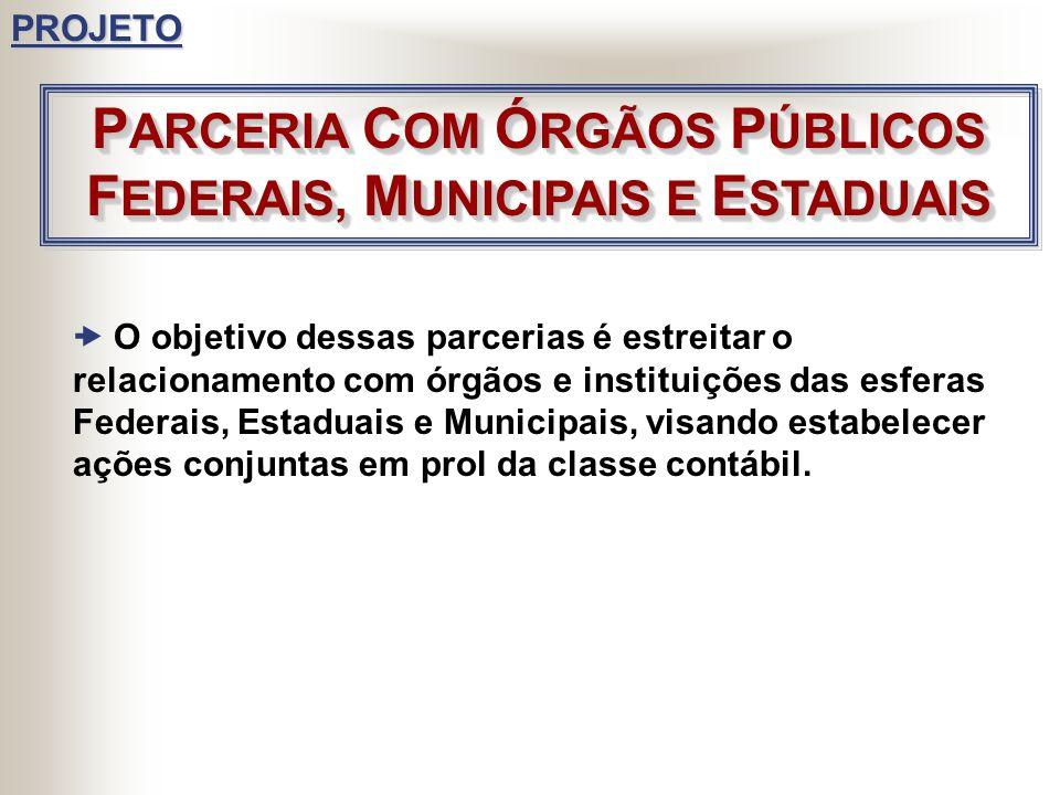 PARCERIA COM ÓRGÃOS PÚBLICOS FEDERAIS, MUNICIPAIS E ESTADUAIS