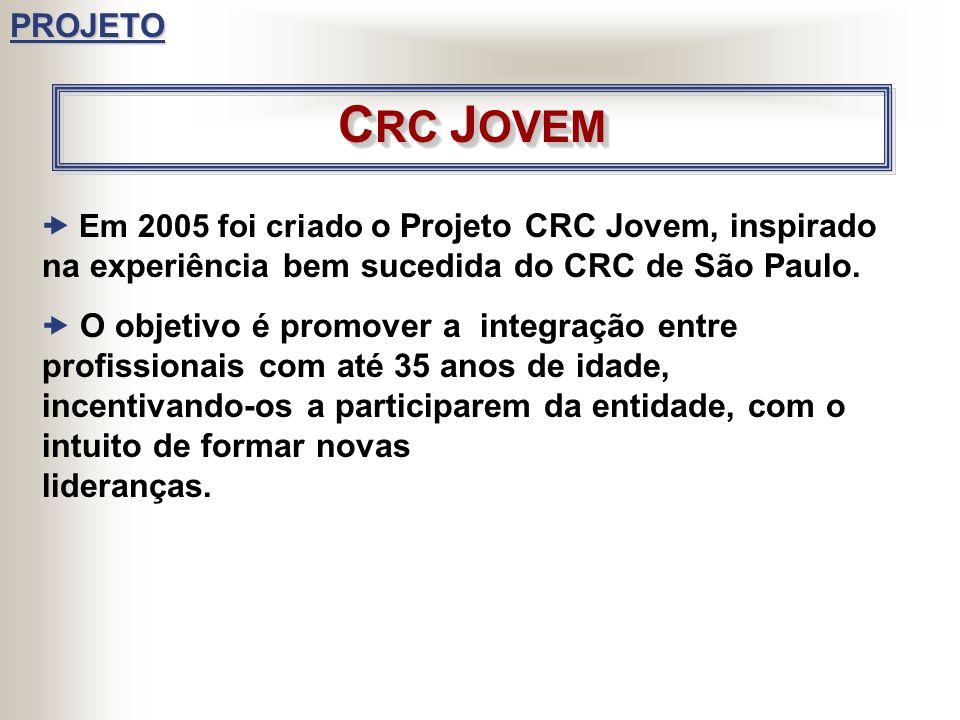 PROJETO CRC JOVEM.  Em 2005 foi criado o Projeto CRC Jovem, inspirado na experiência bem sucedida do CRC de São Paulo.