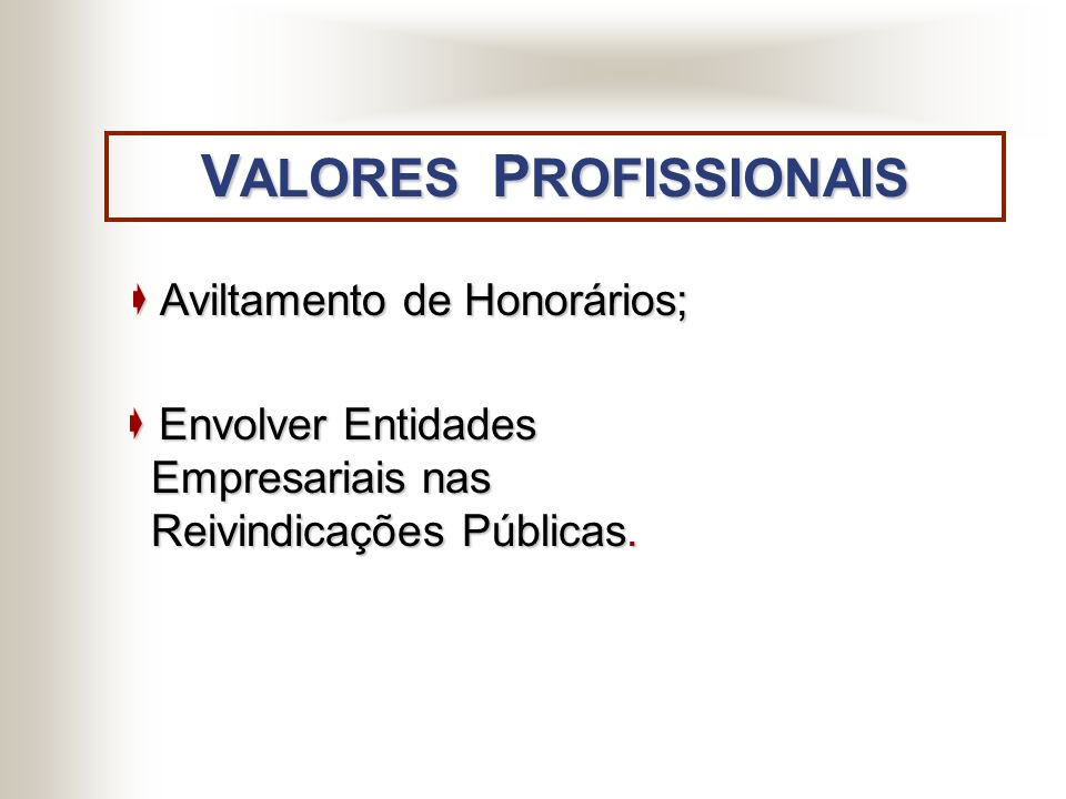VALORES PROFISSIONAIS