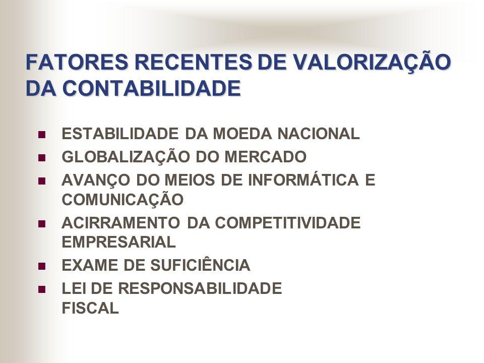 FATORES RECENTES DE VALORIZAÇÃO DA CONTABILIDADE