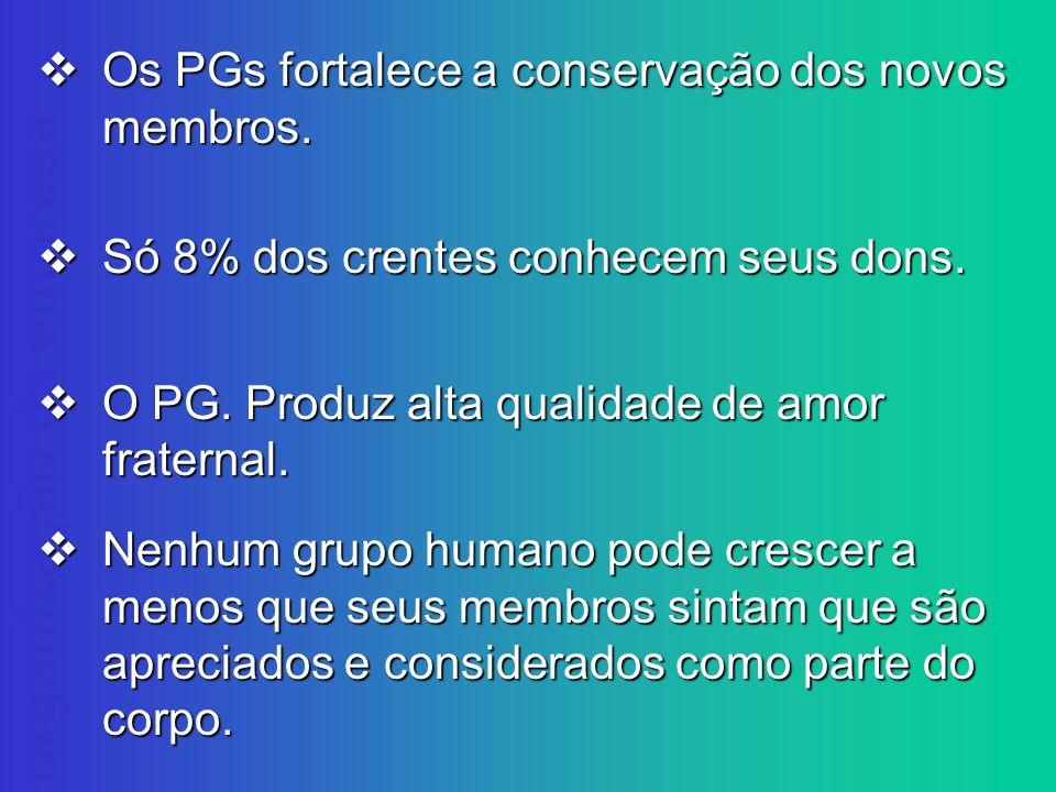 Os PGs fortalece a conservação dos novos membros.