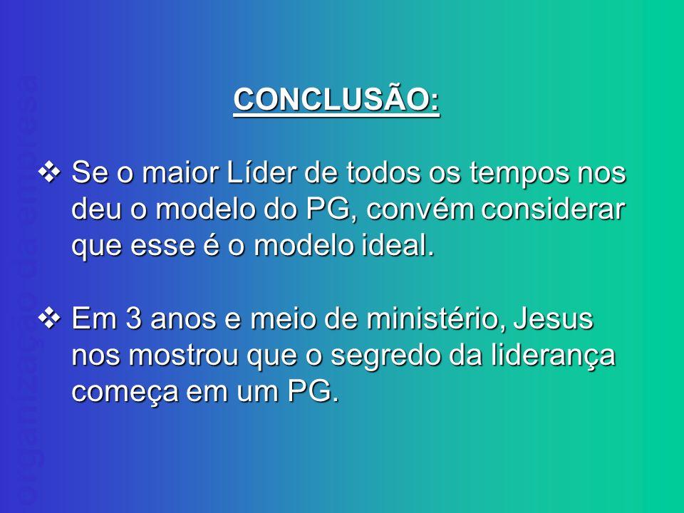 CONCLUSÃO: Se o maior Líder de todos os tempos nos deu o modelo do PG, convém considerar que esse é o modelo ideal.