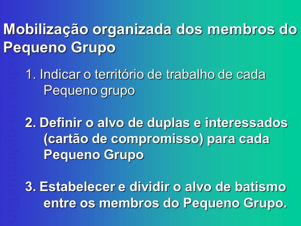 Mobilização organizada dos membros do Pequeno Grupo