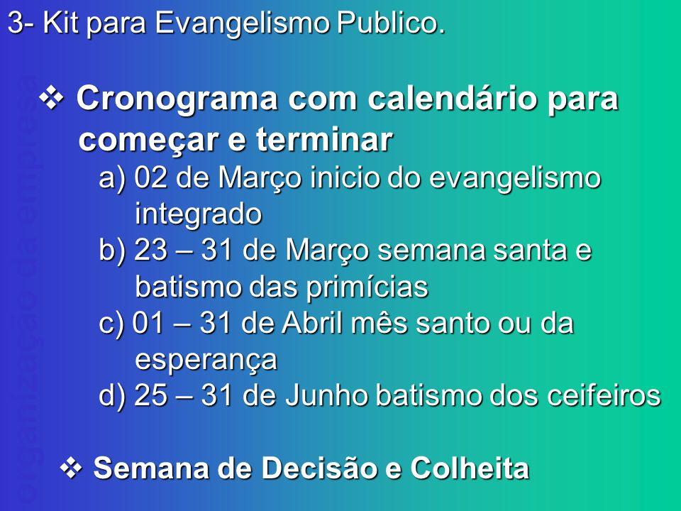 v Cronograma com calendário para começar e terminar