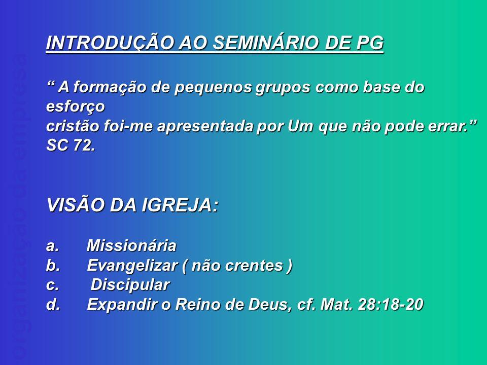 INTRODUÇÃO AO SEMINÁRIO DE PG
