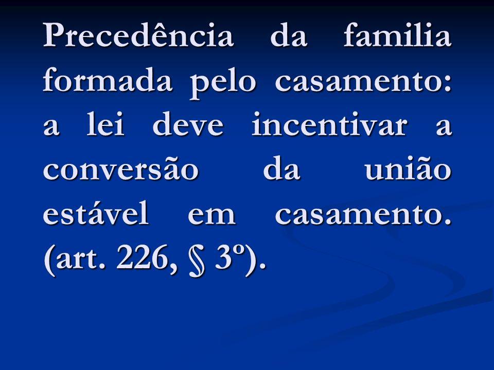 Precedência da familia formada pelo casamento: a lei deve incentivar a conversão da união estável em casamento.