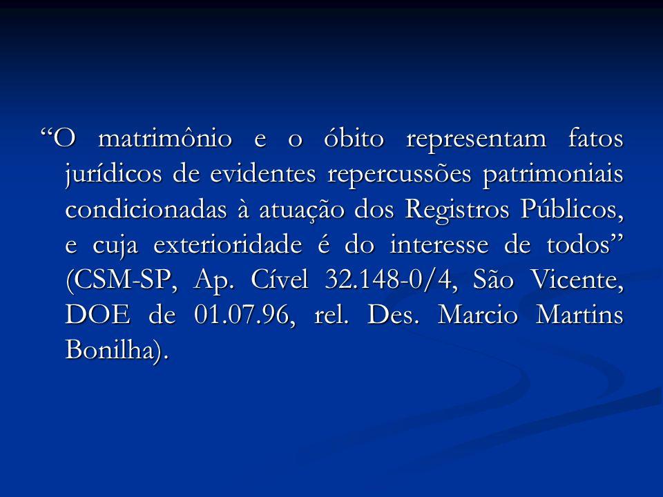 O matrimônio e o óbito representam fatos jurídicos de evidentes repercussões patrimoniais condicionadas à atuação dos Registros Públicos, e cuja exterioridade é do interesse de todos (CSM-SP, Ap.
