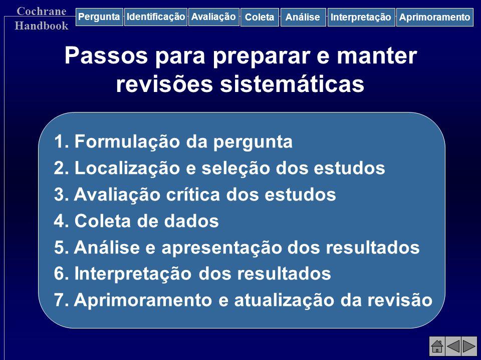 Passos para preparar e manter revisões sistemáticas