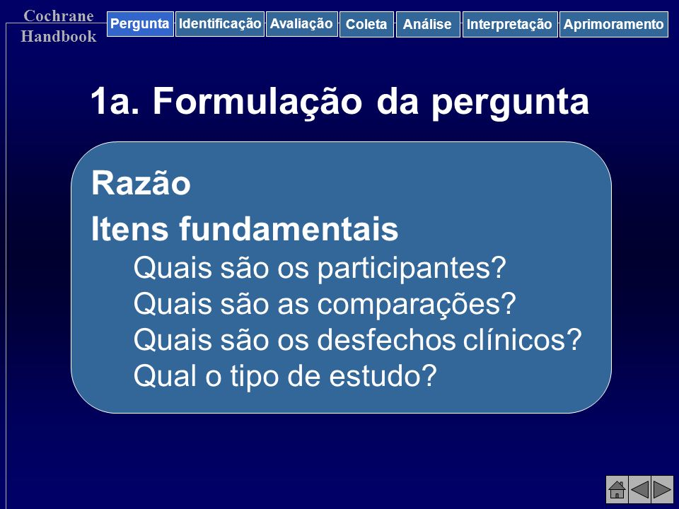 1a. Formulação da pergunta