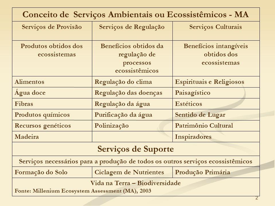 Conceito de Serviços Ambientais ou Ecossistêmicos - MA