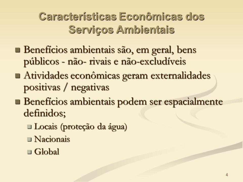 Características Econômicas dos Serviços Ambientais