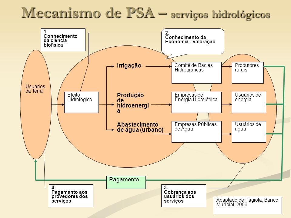 Mecanismo de PSA – serviços hidrológicos
