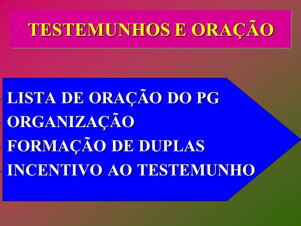 TESTEMUNHOS E ORAÇÃO LISTA DE ORAÇÃO DO PG ORGANIZAÇÃO
