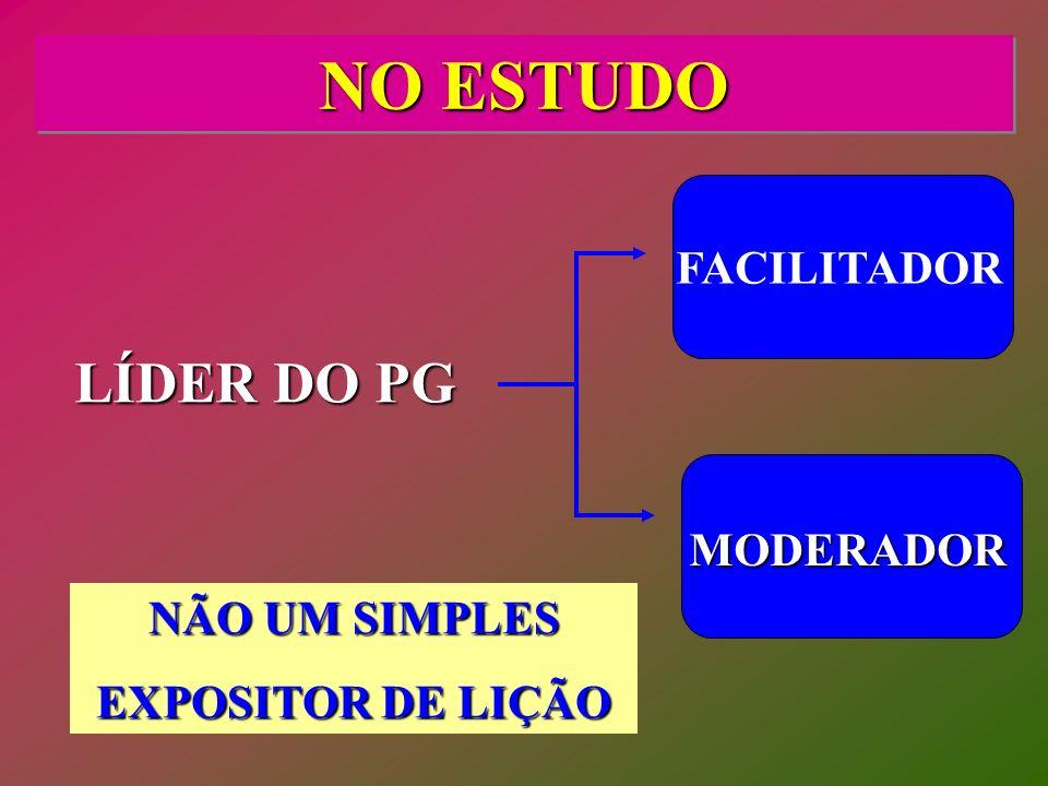 NO ESTUDO LÍDER DO PG FACILITADOR MODERADOR NÃO UM SIMPLES