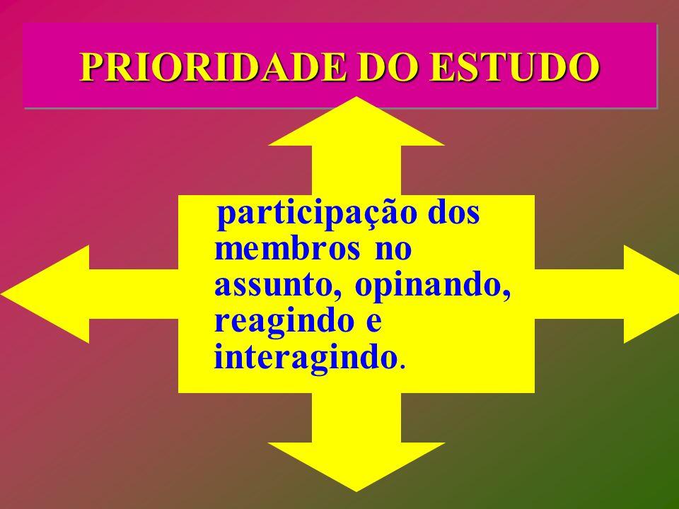 PRIORIDADE DO ESTUDO participação dos membros no assunto, opinando, reagindo e interagindo.