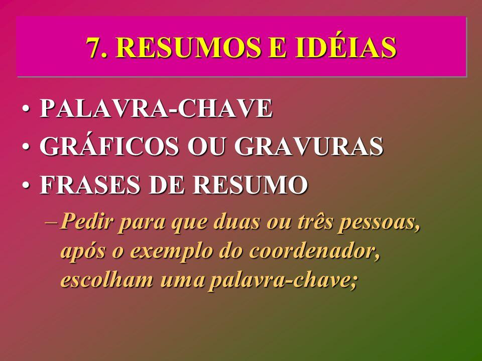 7. RESUMOS E IDÉIAS PALAVRA-CHAVE GRÁFICOS OU GRAVURAS