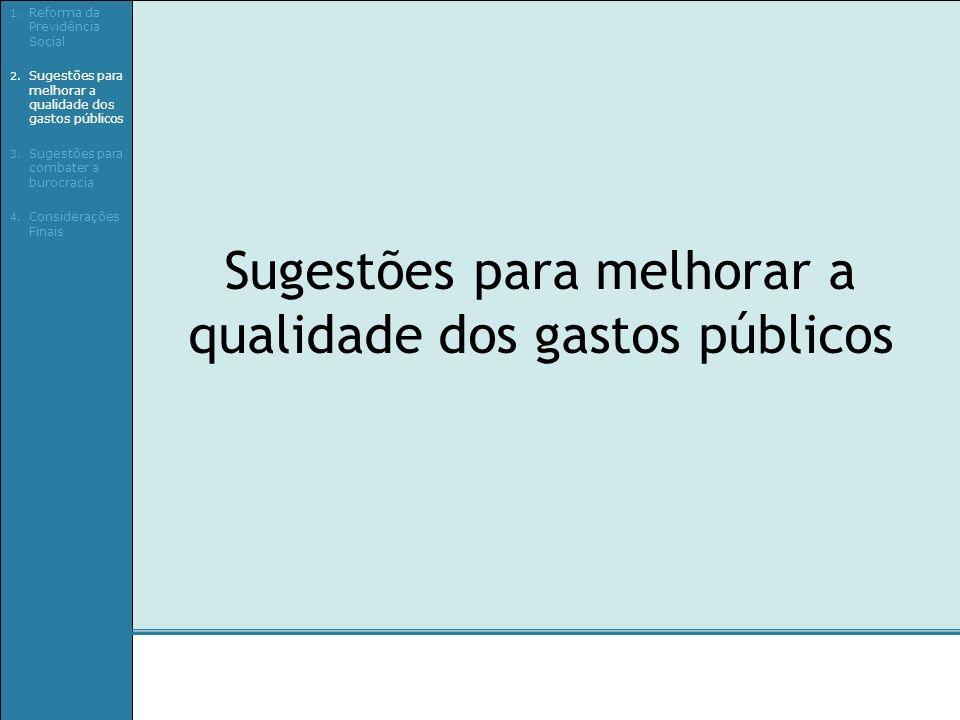 Sugestões para melhorar a qualidade dos gastos públicos