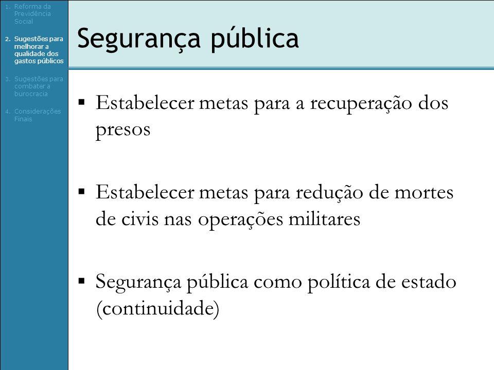 Segurança pública Estabelecer metas para a recuperação dos presos