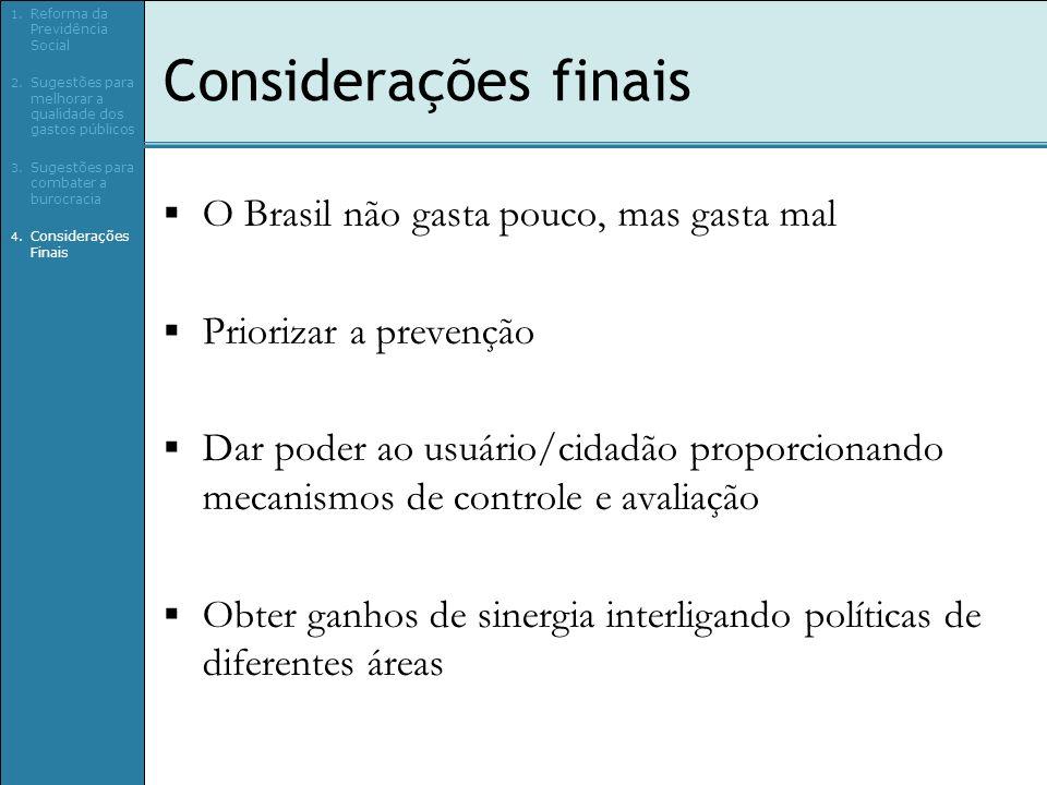 Considerações finais O Brasil não gasta pouco, mas gasta mal