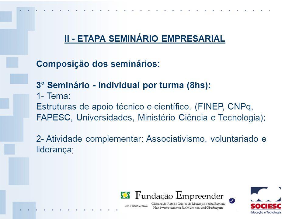 II - ETAPA SEMINÁRIO EMPRESARIAL