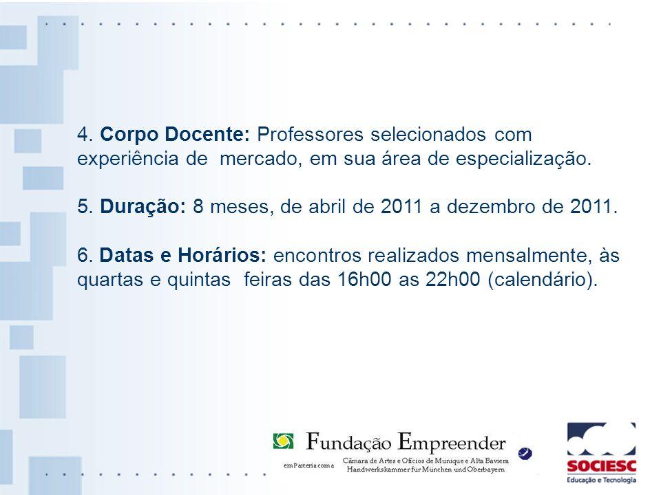 4. Corpo Docente: Professores selecionados com experiência de mercado, em sua área de especialização.