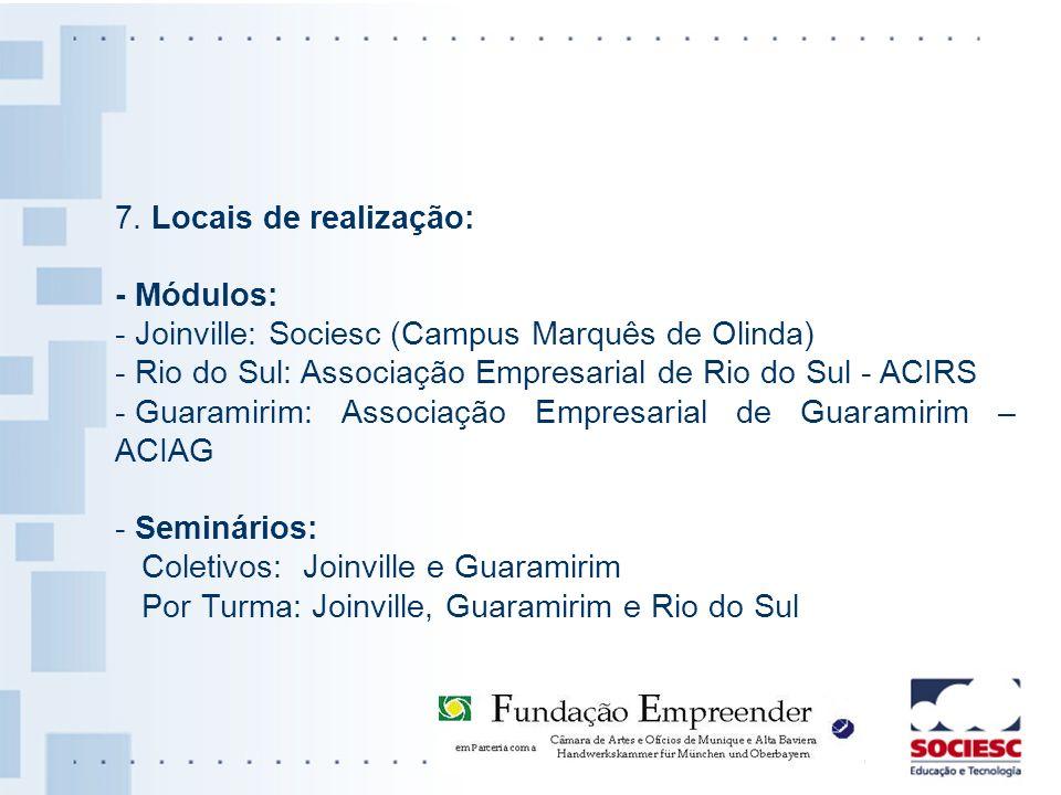7. Locais de realização: - Módulos: - Joinville: Sociesc (Campus Marquês de Olinda) - Rio do Sul: Associação Empresarial de Rio do Sul - ACIRS.