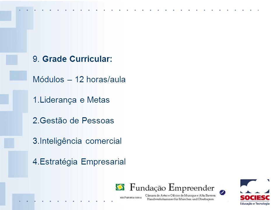 9. Grade Curricular: Módulos – 12 horas/aula. 1.Liderança e Metas. 2.Gestão de Pessoas. 3.Inteligência comercial.