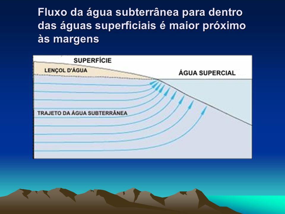 Fluxo da água subterrânea para dentro das águas superficiais é maior próximo às margens