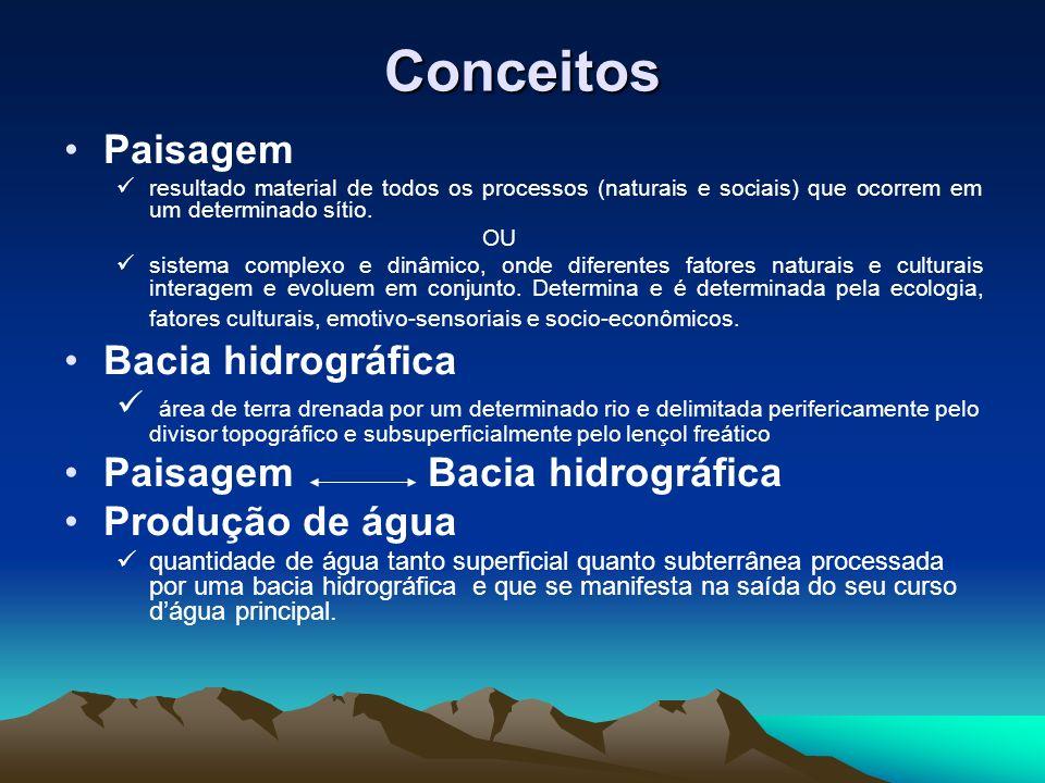 Conceitos Paisagem Bacia hidrográfica Paisagem Bacia hidrográfica