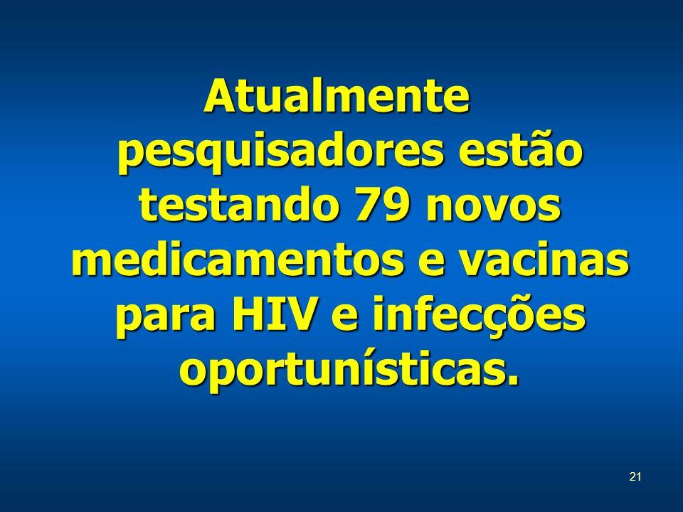 Atualmente pesquisadores estão testando 79 novos medicamentos e vacinas para HIV e infecções oportunísticas.