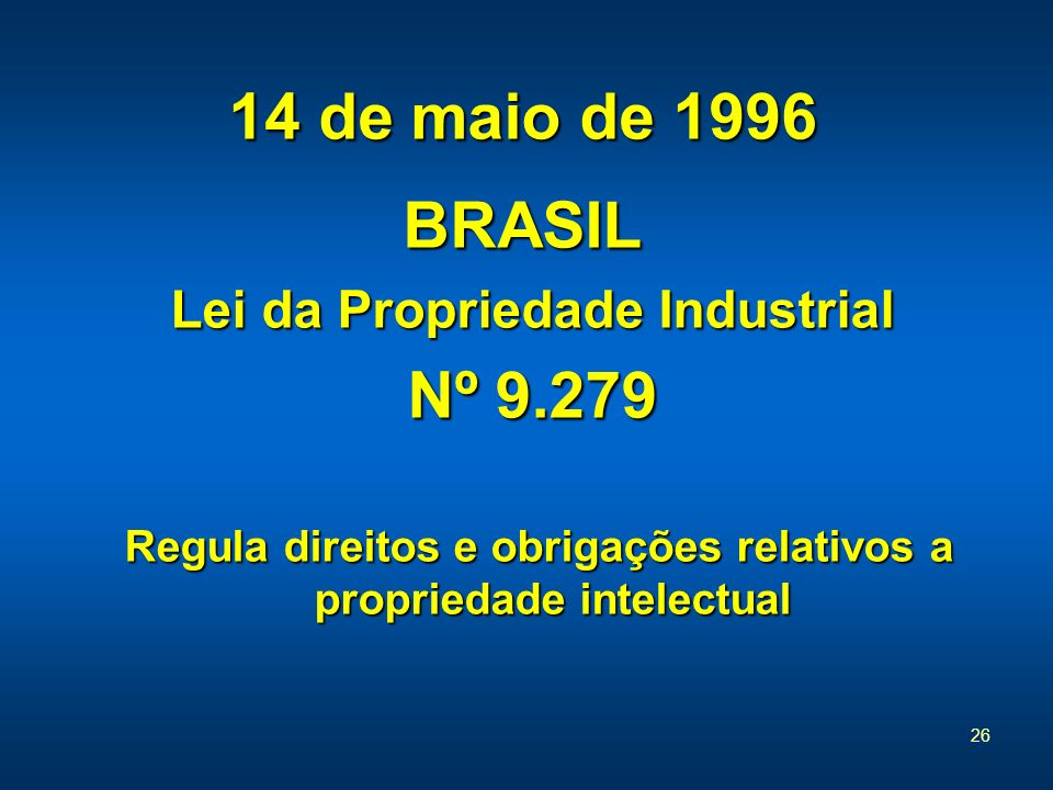14 de maio de 1996 BRASIL Nº 9.279 Lei da Propriedade Industrial
