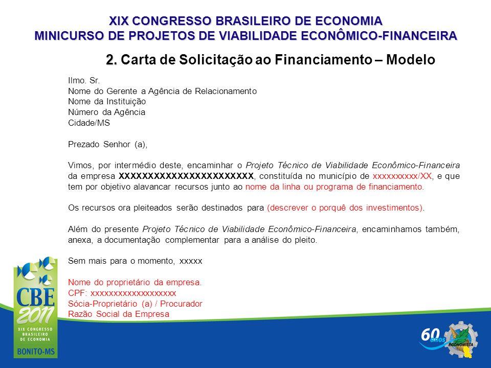 2. Carta de Solicitação ao Financiamento – Modelo