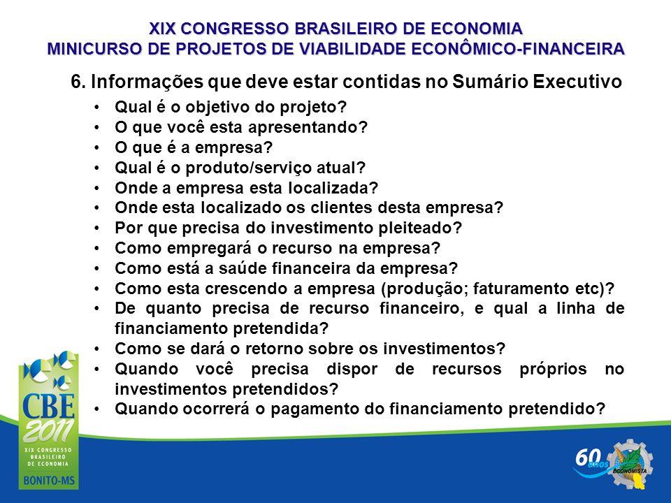 6. Informações que deve estar contidas no Sumário Executivo