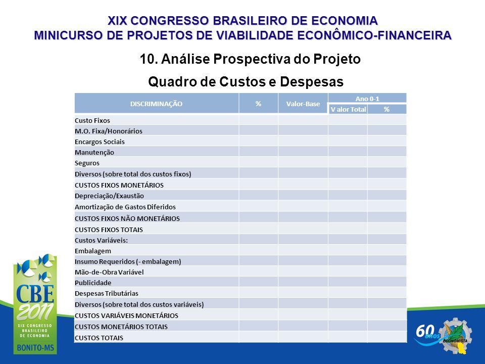10. Análise Prospectiva do Projeto Quadro de Custos e Despesas