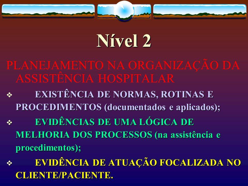 Nível 2 PLANEJAMENTO NA ORGANIZAÇÃO DA ASSISTÊNCIA HOSPITALAR