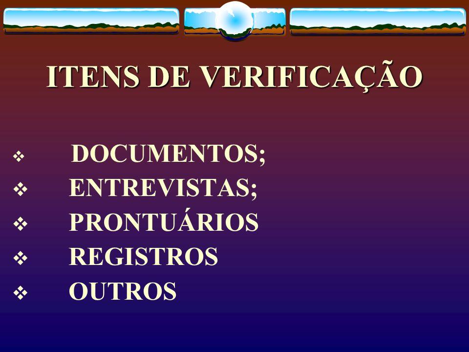 ITENS DE VERIFICAÇÃO ENTREVISTAS; PRONTUÁRIOS REGISTROS OUTROS