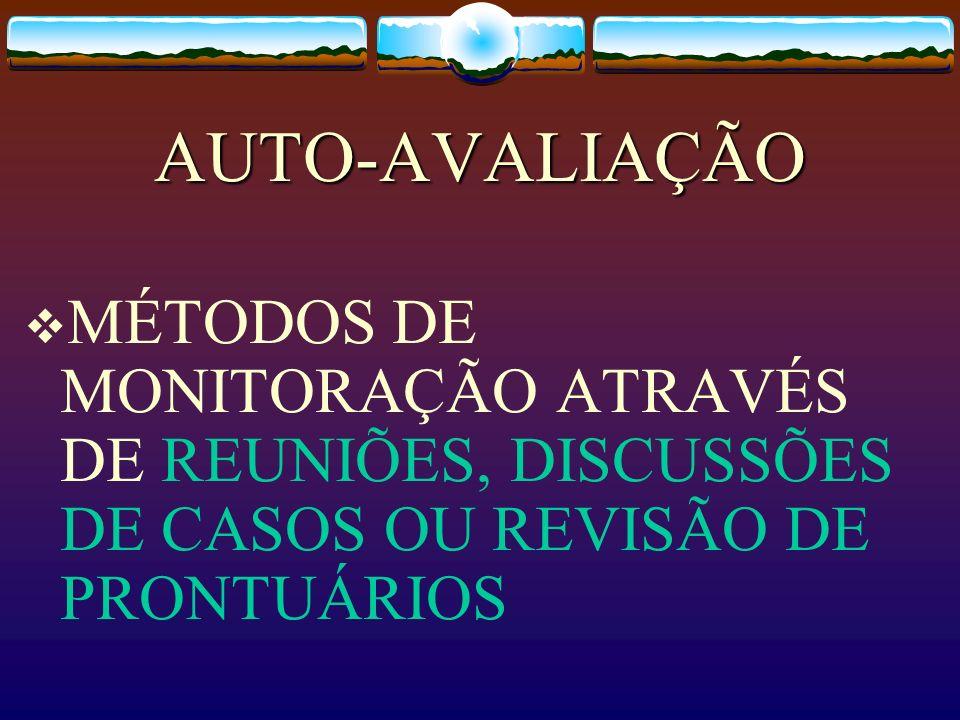 AUTO-AVALIAÇÃOMÉTODOS DE MONITORAÇÃO ATRAVÉS DE REUNIÕES, DISCUSSÕES DE CASOS OU REVISÃO DE PRONTUÁRIOS.