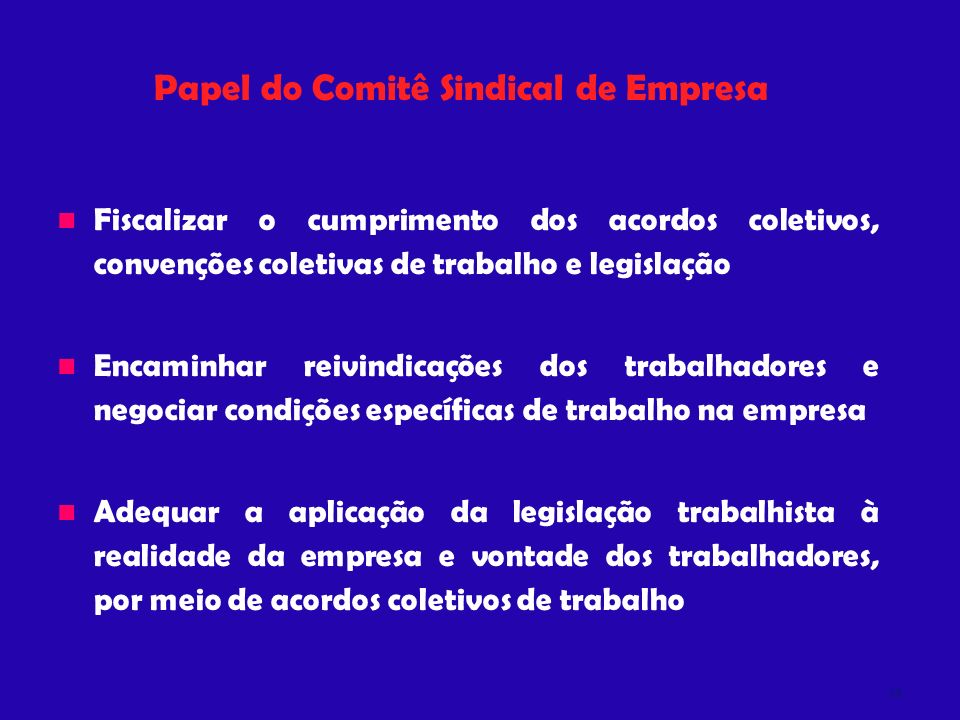 Papel do Comitê Sindical de Empresa