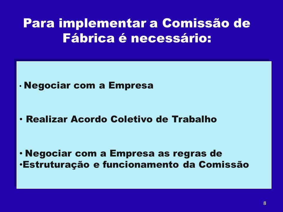 Para implementar a Comissão de Fábrica é necessário: