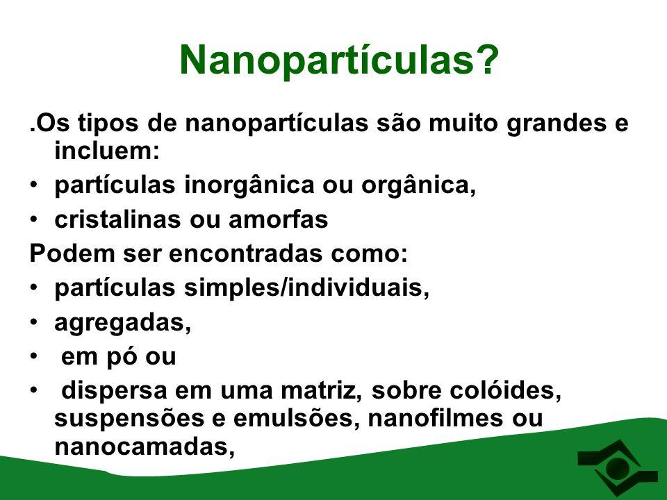 Nanopartículas .Os tipos de nanopartículas são muito grandes e incluem: partículas inorgânica ou orgânica,