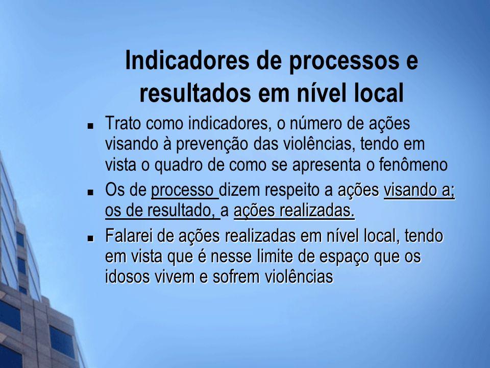 Indicadores de processos e resultados em nível local