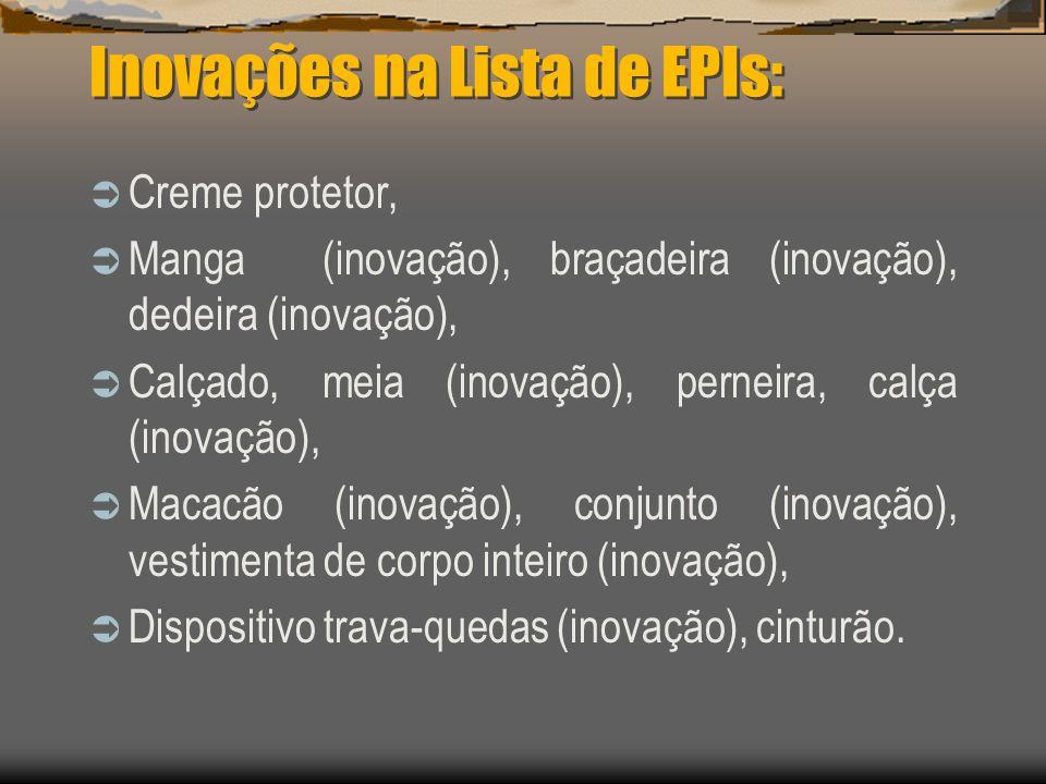 Inovações na Lista de EPIs:
