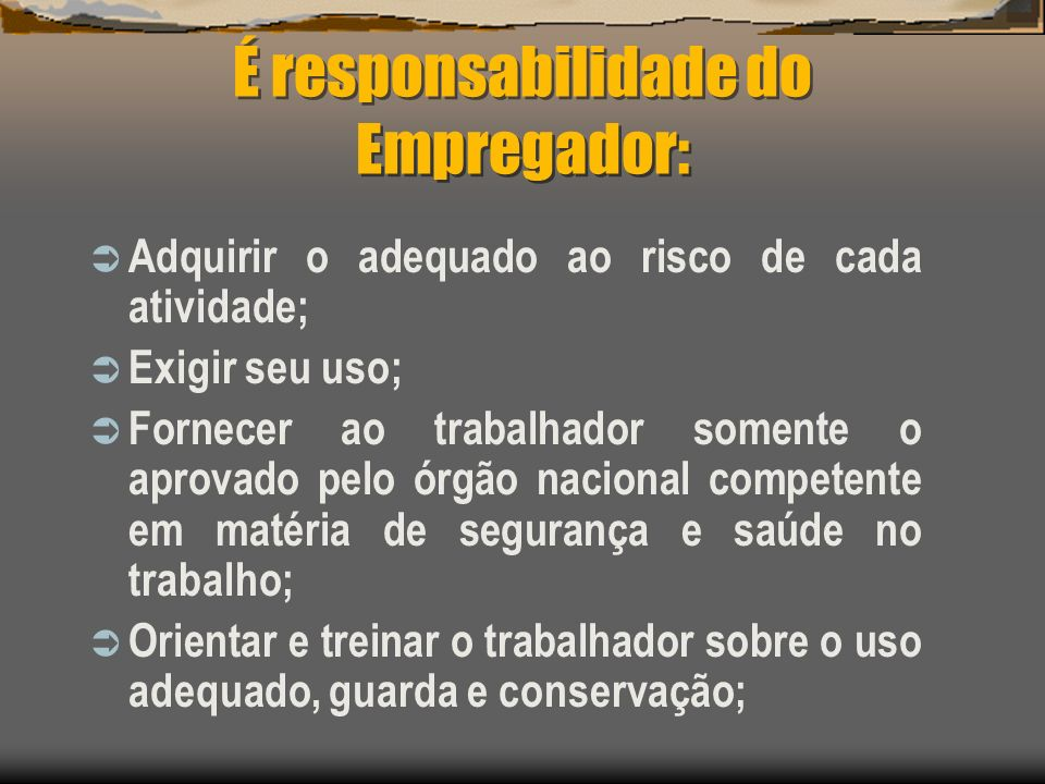 É responsabilidade do Empregador: