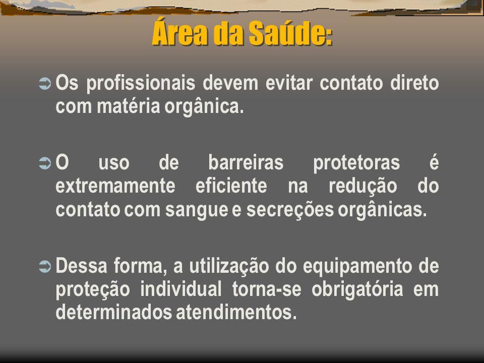 Área da Saúde: Os profissionais devem evitar contato direto com matéria orgânica.