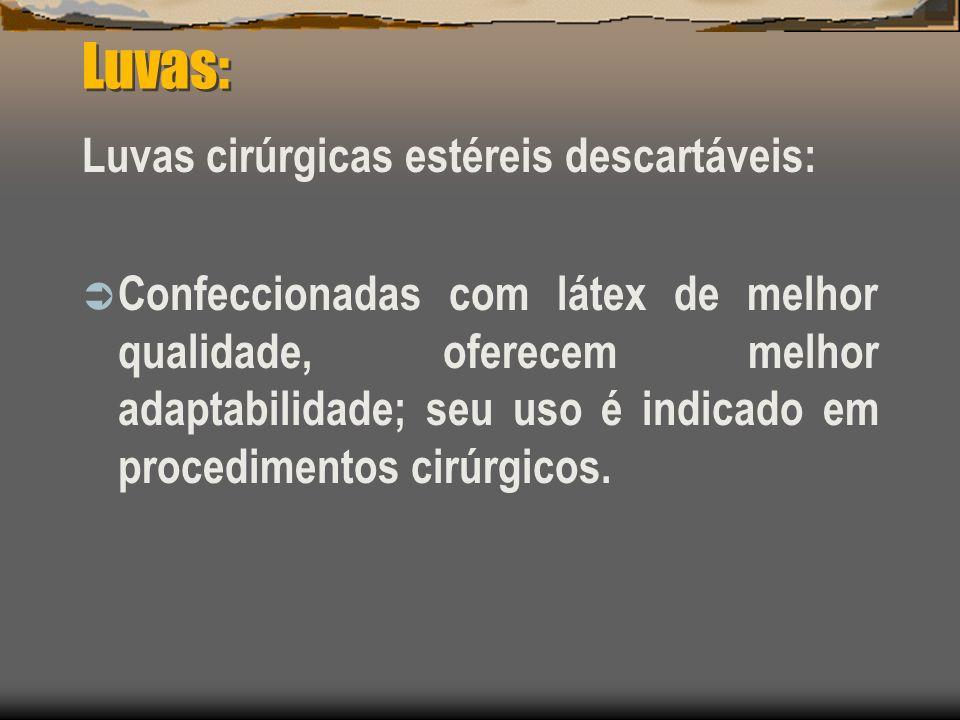 Luvas: Luvas cirúrgicas estéreis descartáveis: