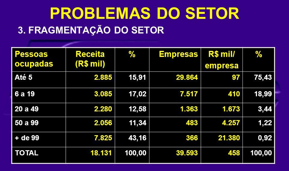 PROBLEMAS DO SETOR 3. FRAGMENTAÇÃO DO SETOR Pessoas ocupadas