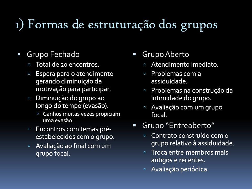 1) Formas de estruturação dos grupos