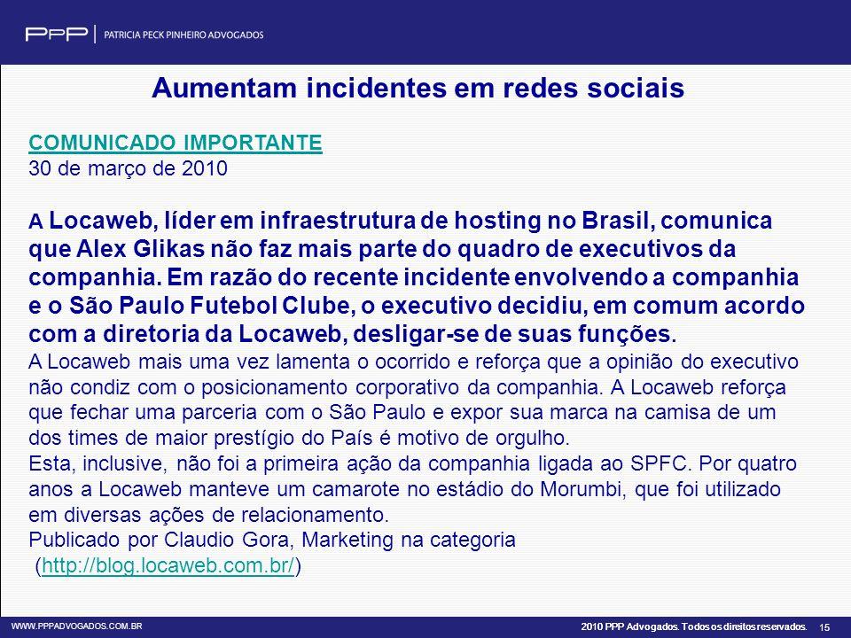 Aumentam incidentes em redes sociais