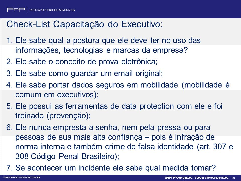 Check-List Capacitação do Executivo: